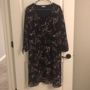 Maurice's floral dress with slit, sheer sleeves